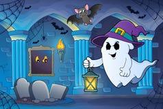 Spook met hoed en lantaarnthema 6 stock illustratie