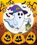 Spook met hoed en lantaarnthema 5 royalty-vrije illustratie