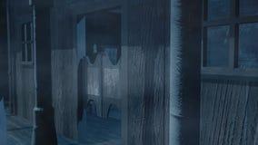 Spook westelijke stad bij nacht vector illustratie