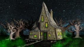 Spookachtig Halloween-Huis in het Hout vector illustratie