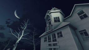 Spookhuis en de tijdtijdspanne van de nachthemel 4K stock illustratie