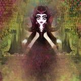 Spookhuis en heks vector illustratie