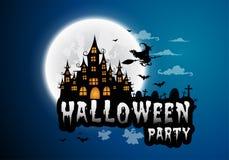 Spookhuis en volle maan met heks en spook, Halloween-nacht Stock Foto