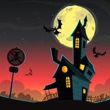 Spookhuis op nachtachtergrond met een erachter volle maan De vector achtergrond van Halloween royalty-vrije illustratie