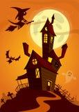 Spookhuis op nachtachtergrond met een erachter volle maan De vector achtergrond van Halloween royalty-vrije stock afbeeldingen