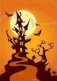 Spookhuis op nachtachtergrond met een erachter volle maan De vector achtergrond van Halloween stock afbeeldingen