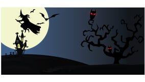 Spookhuis op nachtachtergrond met volle maan stock foto's