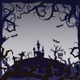 Spookkasteel - Halloween-achtergrond Stock Foto's