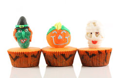 Spooks cup cakes. On white background royalty free stock photography