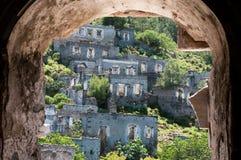 Spookstad van Kayakoy (Turkije) Stock Foto's