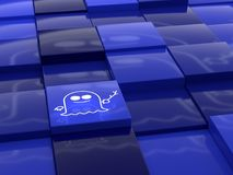 Spooksymbool die over een willekeurig het nadenken blauw kubusland drijven Stock Foto's