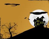 Spooky. Seasonal halloween background with haunted house stock illustration