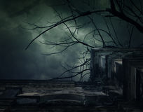 Spooky ancient building with full moon and bird, Halloween backg Royalty Free Stock Photography