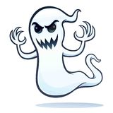 Spooky Angry Ghost. Cartoon of a spooky and angry looking ghost character that is flying with arms up vector illustration