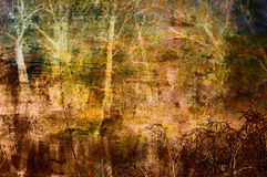 Spooky art grunge background with trees. Spooky art grunge background with forest trees in orange, brown and yellow colors vector illustration