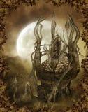 Spooky autumnal scenery vector illustration