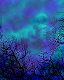 Spooky Background. Fantasy view of a moon and trees background Stock Photo