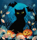 Spooky background with autumn tree, black cat, bats and pumpkins Royalty Free Stock Photo