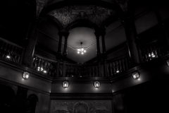 Spooky Balcony. Photo of a balcony in black and white, with a little glamour blur effect to get the spooky atmosphere effect Stock Photo