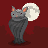 Spooky Bat  in Red Night with Haze and Full Moon Stock Image