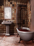 Spooky bathroom. Old spooky bathroom with a cracked mirror and blood in the bathtub Royalty Free Stock Photography