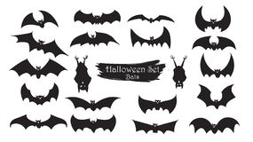 Spooky bats silhouette collection of Halloween vector isolated o. N white background. scary and creepy element stock illustration