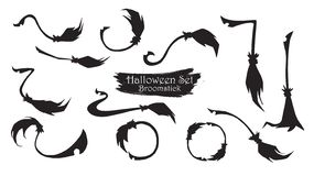 Spooky broomstick silhouette collection of Halloween vector isolated on white background. scary and creepy element vector illustration