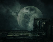 Spooky building with full moon, grunge texture, Halloween backgr Royalty Free Stock Image