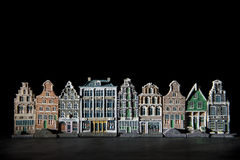 Spooky canal houses against black background Stock Images