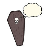 Spooky cartoon coffin with thought bubble Royalty Free Stock Photo