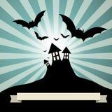 Spooky Castle with Bats - Retro Vector Stock Photo
