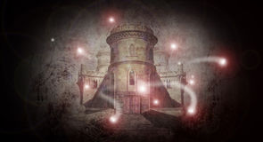 Spooky castle 2 with ghosts. Entrance to spooky old castle with ghosts Stock Images