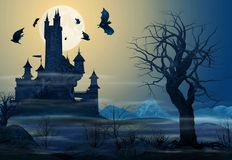 Spooky Castle Illuminated against a Full Moon Stock Photography