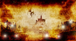 Spooky castle and town burning Royalty Free Stock Photo