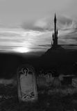 Spooky cemetery and tower Royalty Free Stock Image