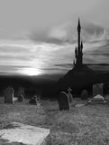 Spooky cemetery and tower Stock Photos