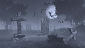 Spooky cemetery under big full moon Stock Image