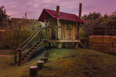 Spooky childrens wooden playhouse. With steps and a slide slide Stock Photography