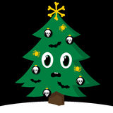 Spooky Christmas tree with Halloween decorations. Spooky cartoon vector Christmas tree with Halloween decorations decorated with skull, cross bones, spiders and royalty free illustration