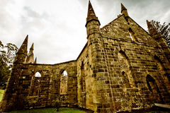 Spooky church ruin. Only facade and no roof Royalty Free Stock Image