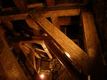 Spooky church tower. Wooden attic Royalty Free Stock Images