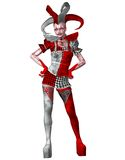 Spooky circus lady 2. 3D render of a female circus clown Royalty Free Stock Photo