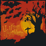 Spooky Classical Halloween Scene with Bats, Vector Illustration Stock Images