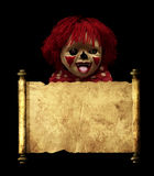 Spooky clown and vintage scroll Royalty Free Stock Photo