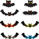 Spooky Color Bats, Bat Illustrations. Black bats, green bats, grey bat, blue bat, red bat, fauna, Halloween decorative bat illustrations, scary bats Stock Images