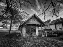 Spooky cottage in black and white Royalty Free Stock Image