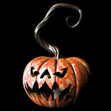 Spooky. Crazy expressions and characters carved on a Halloween pumpkin Stock Photo
