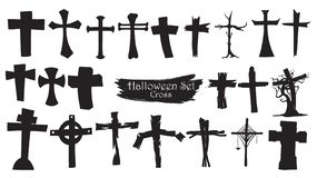 Spooky cross cemetery silhouette collection of Halloween vector royalty free illustration