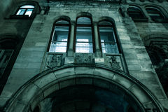 Spooky dark castle house halloween. Spooky dark castle house hallowen with dark gate Royalty Free Stock Photography