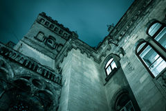 Spooky dark castle house hallowen. With gothic windows Royalty Free Stock Photo